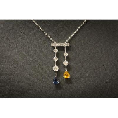 """Collier """"négligé"""" Vintage en Or Blanc, Saphirs et Diamants,"""