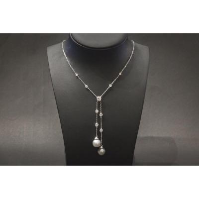 Collier Vintage en Or Blanc, Diamants et Perles de Tahiti