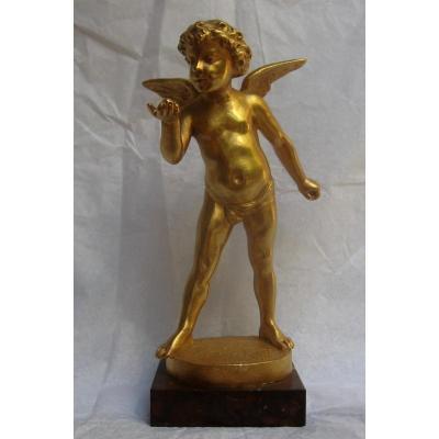 """Bronze Doré """"Ange à la Perle"""" d'Edouard DROUOT"""