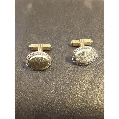 Paire De Boutons De Manchette En Or Et Diamants Signés Piaget