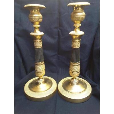 Paire de Bougeoirs en Bronze Doré à Double Patines