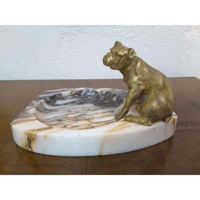 """""""bouledogue"""" Tray In Bronze On Marble, XIXth Century"""