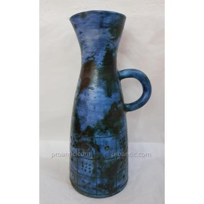 Blin Enamelled Pitcher Blue Ceramic