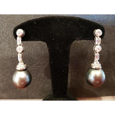 Paire  Boucles d'Oreille Or, Diamants et Perles de Tahiti