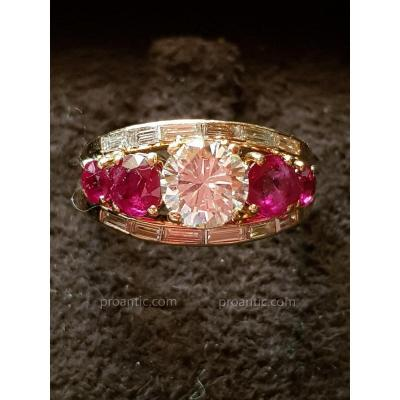 Bague Diamants et Rubis Sertis sur Or Rose