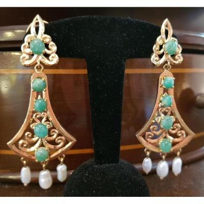 Pair Of Pendant Earrings In Gold, Jadeite And Baroque Pearls