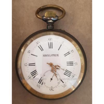 Montre Régulateur en Acier, cadran émaillé,, XIXème Siècle