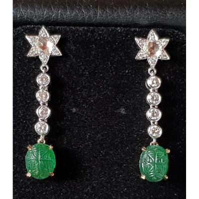 Paire de Boucles d'oreille Emeraudes et Diamants