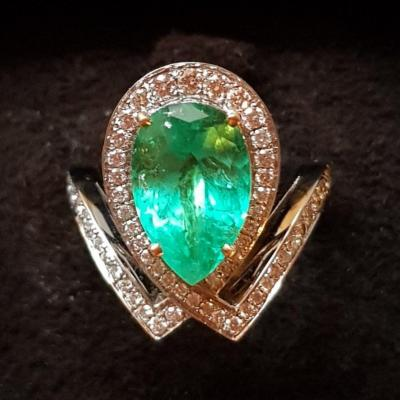 Emerald And Diamond Ring, White Gold, 20th Century