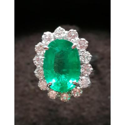 Emerald And Diamonds Ring, White Gold, X Xth Century