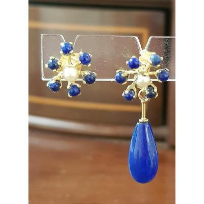 Pair Of Gold, Lapis Lazuli And Pearl Earrings