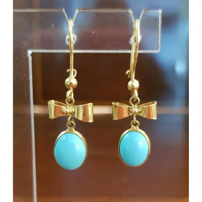 Pair Of Gold And Turquoise Earrings
