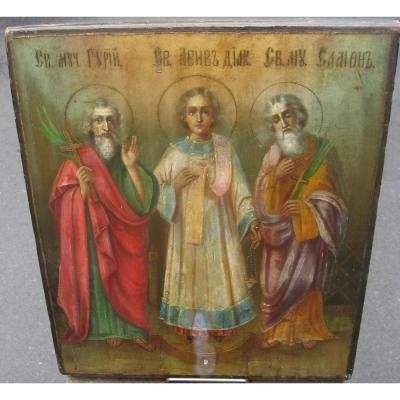 Icône Russe Représentant Trois Saints