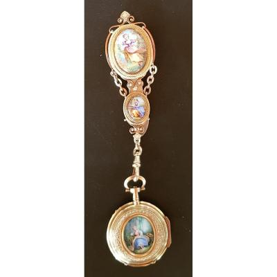 Châtelaine And His Watch In Gold And Email, XIXth Century