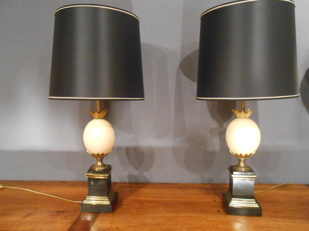 Paire De Lampes Oeuf D Autruche Lampes