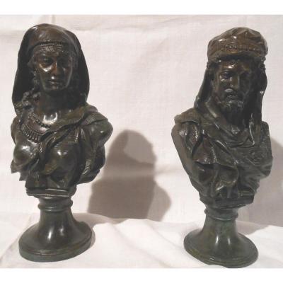 Couple Orientaliste En Bronze