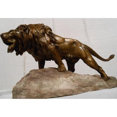 Lion Rugissant En Bronze Par Prosper Lecourtier