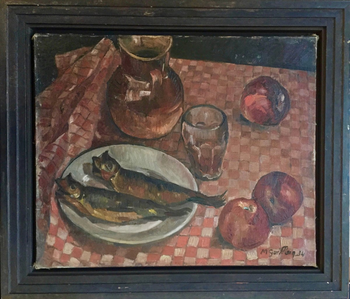 Marthe Guillain (1890-1974), Still Life With Herrings, Dated 1934