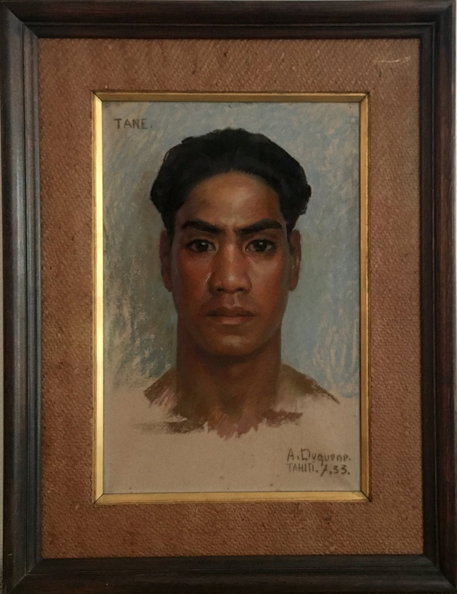 Albert Charles Dequene (1897-1973), Portait de Tahitien, TANE TAHITI 7 - '33