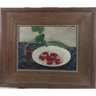 M.c.  Dutch School Of The XXth Century, Still Life With Radishes, 1946