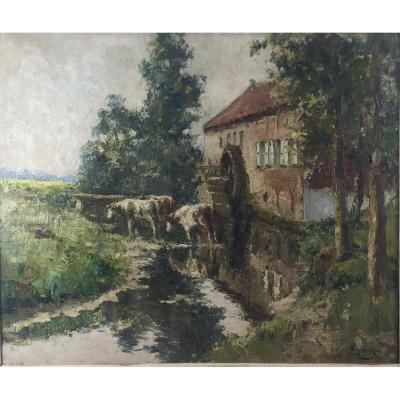 Victor Wagemaekers (1876-1953), The Watermill At Grimbergen