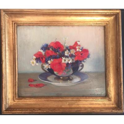 Arlette Davids XXème siècle, Nature Morte Aux Fleurs