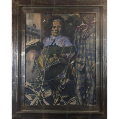 Verdegem Jos (1897-1957), Harlequins De Foire. Cirque Médrano, 1948