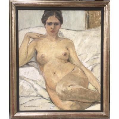 Fernand Lantoine (1876-1949),  French School Reclining Nude,