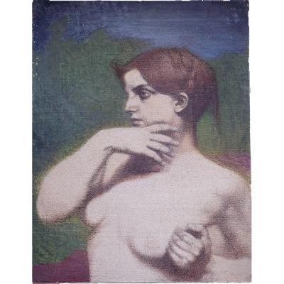 Emile Fabry (1865-1966)  Femme En Songe      huile Sur toile  62 X 47 cm