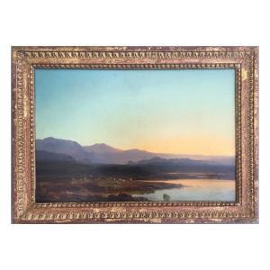 François Roffiaen (1820-1898), Paysage Alpine, Huile Sur Panneau