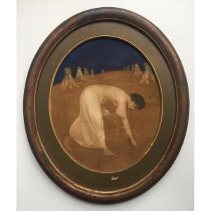Constant Montald (1862-1944) La Moisson. Huile sur toile 59x47,5 cm signé et daté