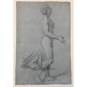 École Italienne  du 18ième Etude de nu dessin sur papier