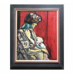 Médard Maertens (1875-1946). Marthe Guillain Et Enfant. Huile Sur Toile  70x50cm Signé