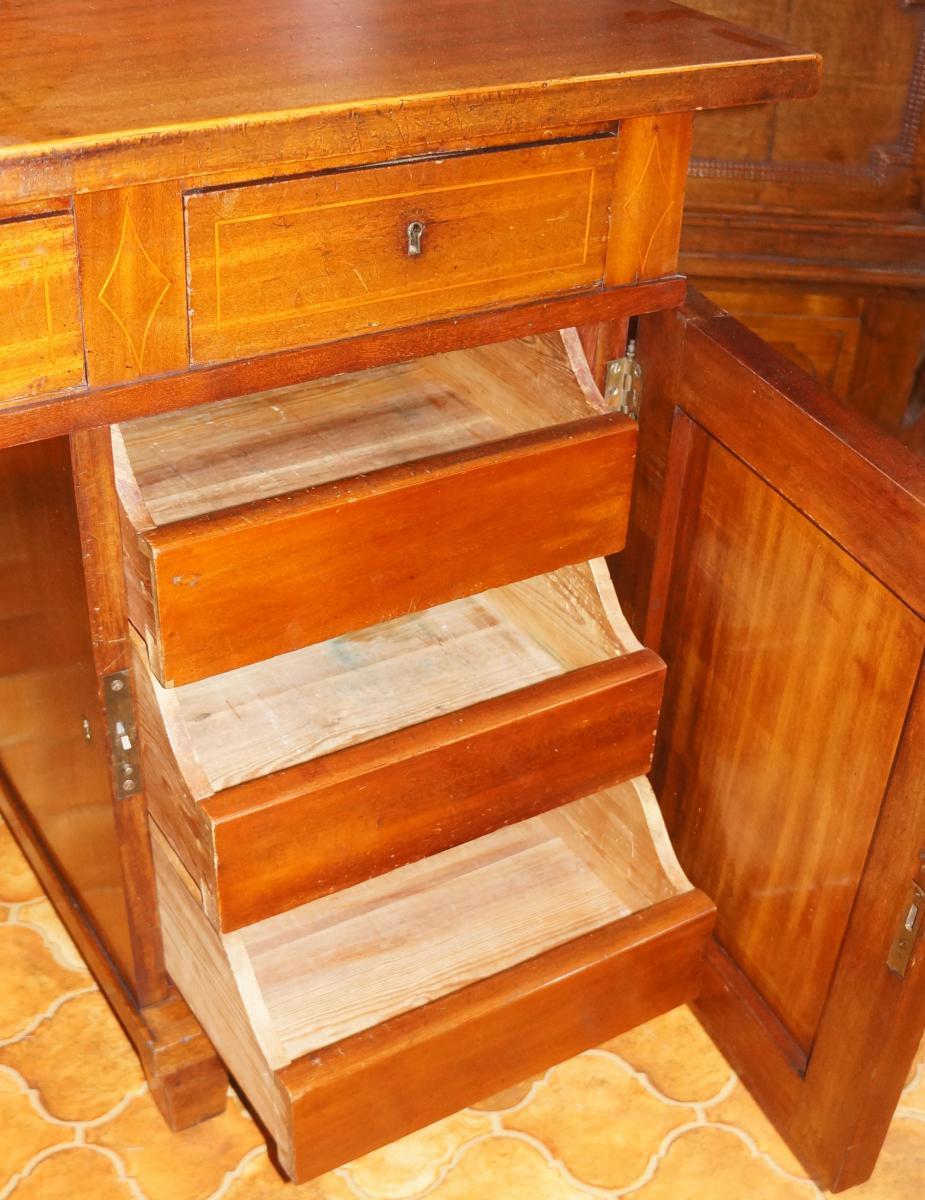 Bureau en acajou à portes et tiroirs-photo-4