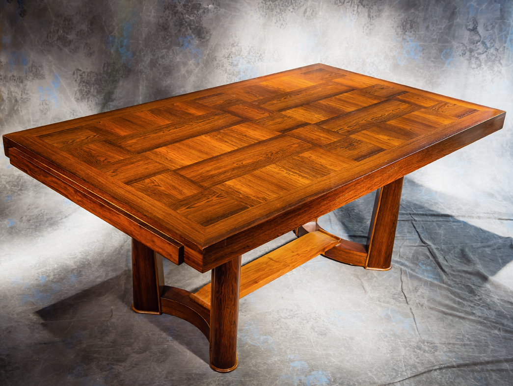 Table Art Deco Palissandre Marquete Signee Christian Krass