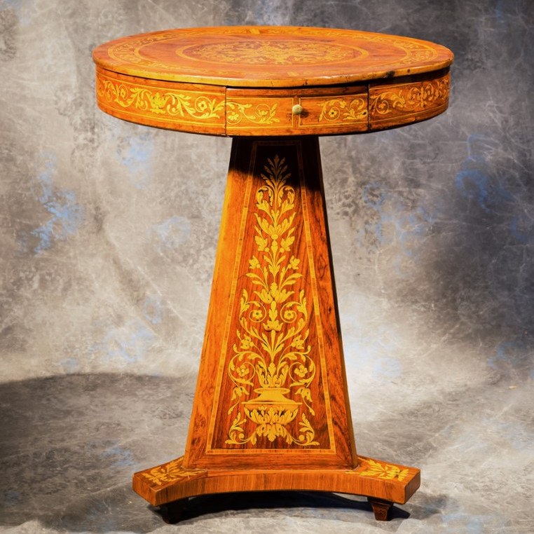 Pedestal Inlaid Flowers And Birds
