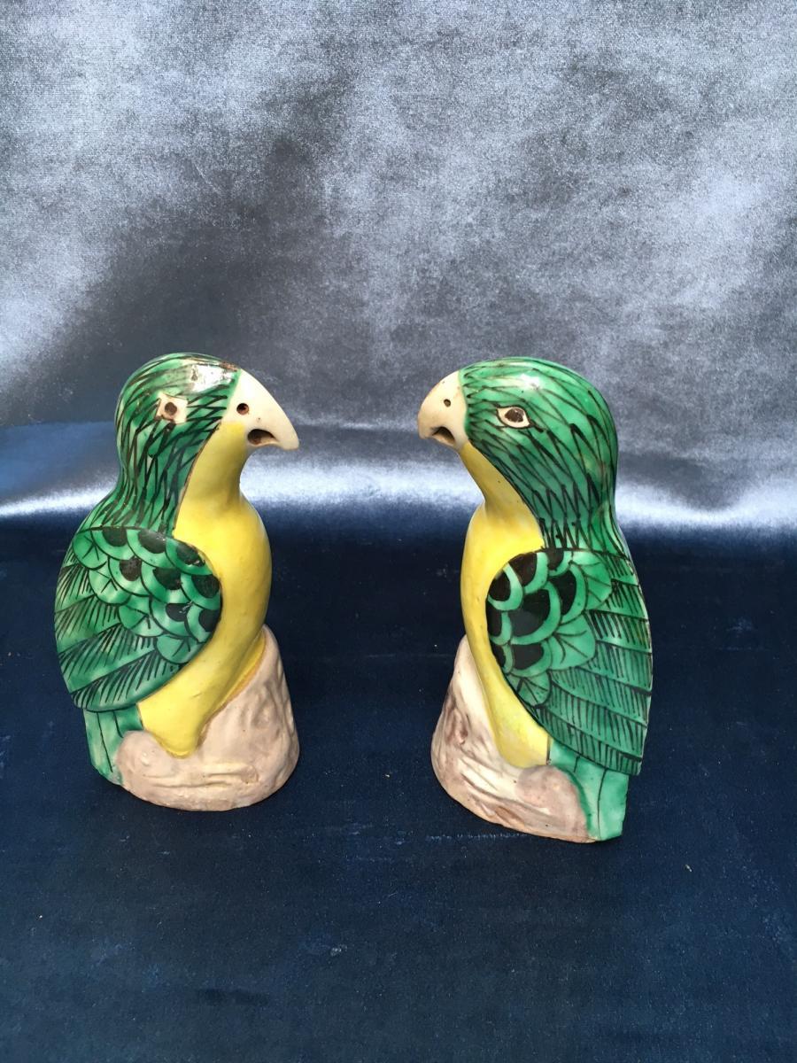 Paire De Perroquets En Faïence Chine XIXème
