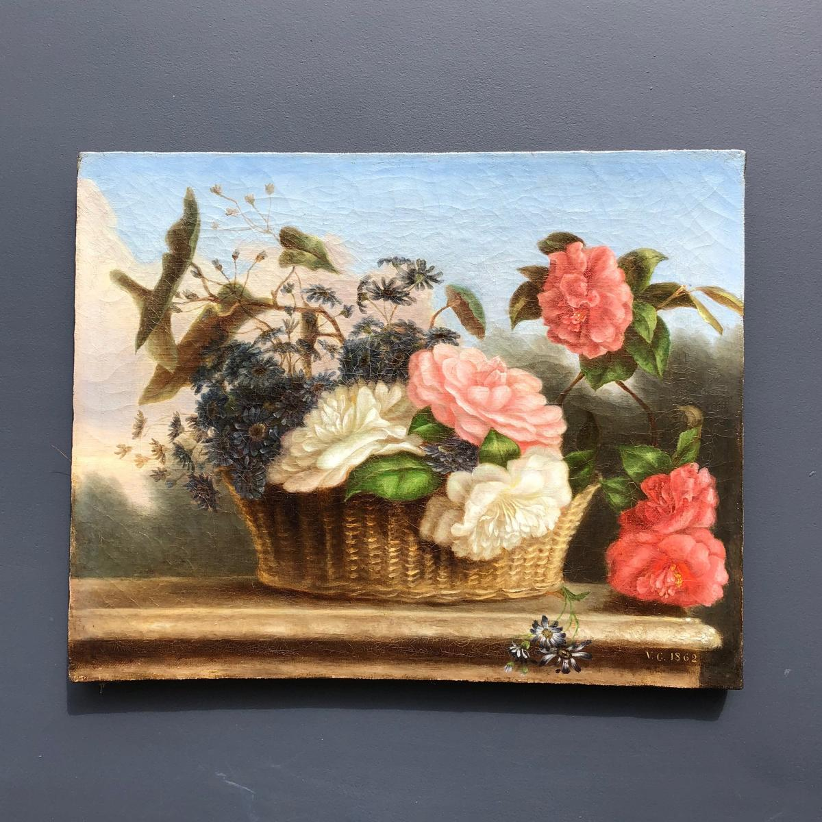 Basket Of Flowers, Oil On Canvas, Dated 1862