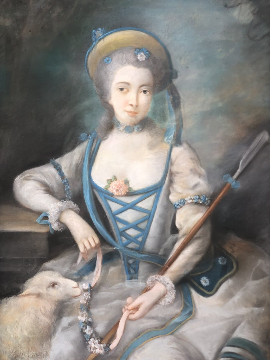 Important Pastel Nineteenth Young Woman And Lamb