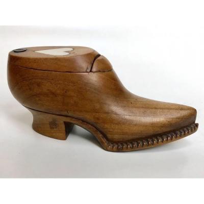 Tabatière Bois Forme De Chaussure art populaire