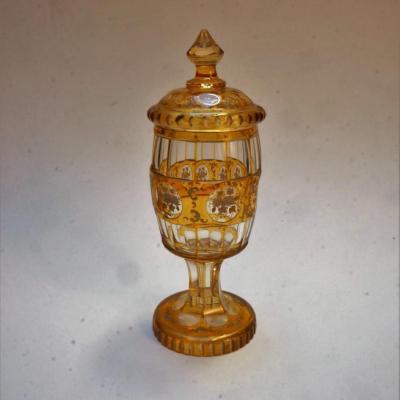 Bonboniere Pokal En Cristal De Bohème Taillé Et Gravé