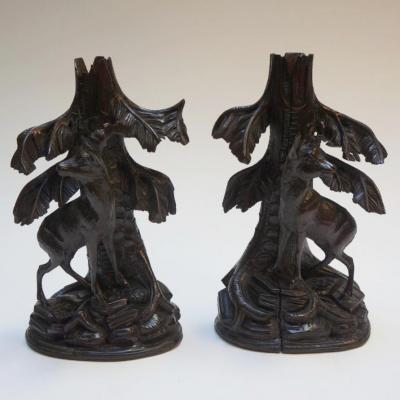 Paire De Chandeliers Bois Sculpté Chamois Et Bouquetin Brienz