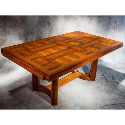 Table Art Deco Palissandre Marqueté Signée Christian Krass