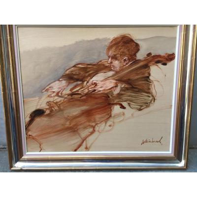 Peinture De Claude Weisbuch  Le Violoncelliste