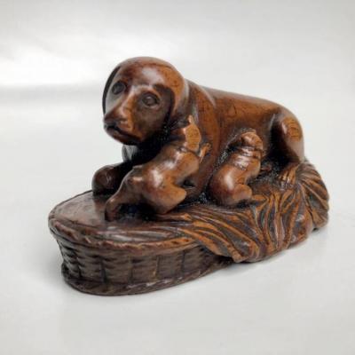 Chienne Et Ses Chiots - Bois Sculpté
