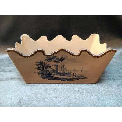 Rare Small Planter In Earthenware Signed Gallé St Clément