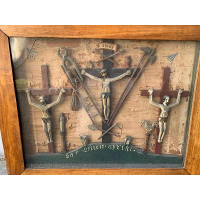 Très Rare Tableau d'Art Populaire Sur La Passion Du Christ XIXème Rhénan.
