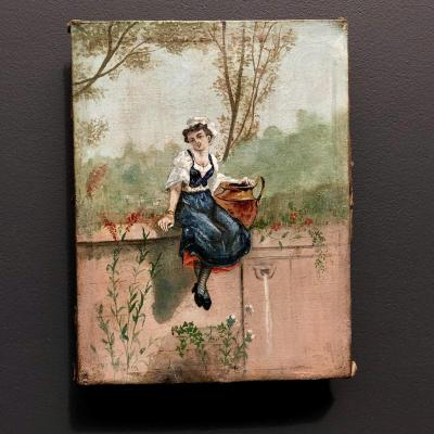 Girl At La Fontaine - Oil On Canvas