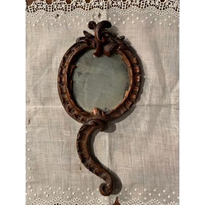 Très rare petit miroir de dame Régence, 18ème.