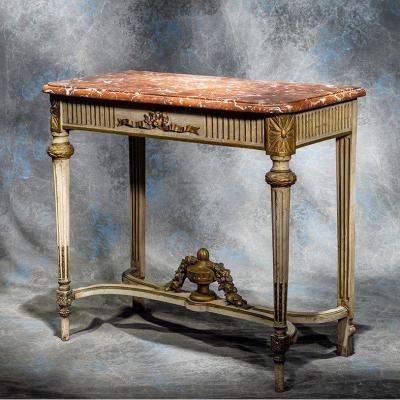 Console Louis XVI Bois Laqué Dessus Marbre